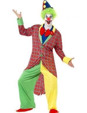 Men's Circus Clown Colourful Fancy Dress Costume Front