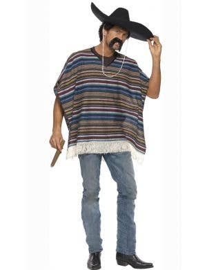 Authentic Mexican poncho Adults fancy dress costume