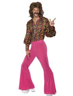Men's 70's Retro Slack Suit Fancy Dress Costume Front