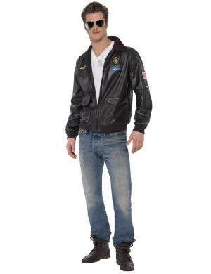 Men's Top Gun Maverick Movie Character Bomber Costume Jacket Front View