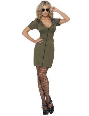 Women's Top Gun Sexy Movie Character Fancy Dress Costume Front View