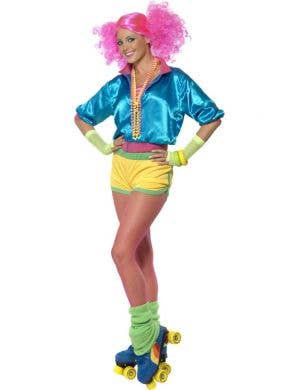 Women's 80's Neon Roller Disco Costume Front View