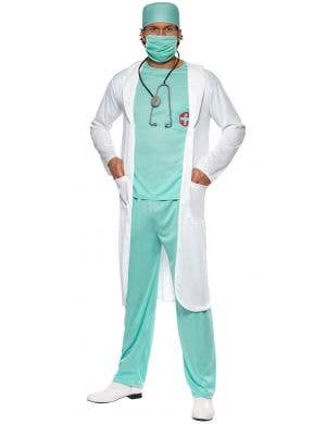 Mens Scrubs And Lab Coat Doctor's Fancy Dress Costume Front View 1