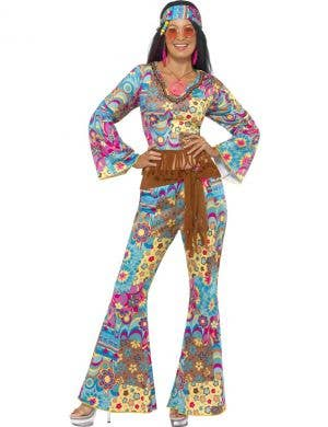 70's Women's Retro Hippie Jumpsuit Costume Front View