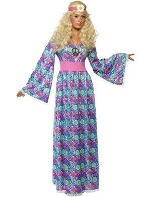 Blue Women's Retro Hippy Maxi Fancy Dress Costume Front View