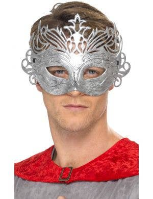 Men's Silver Flourish Colombina Masquerade Mask