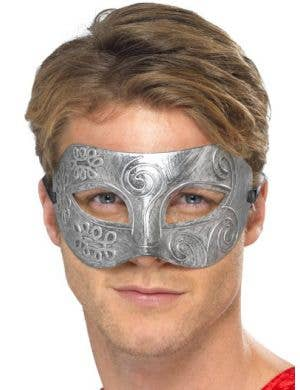 Colombina Men's Antique Silver Masquerade Mask