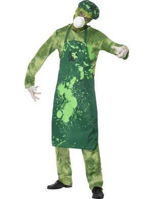 Men's Green Toxic Bio-hazard Zombie Halloween Costume Front