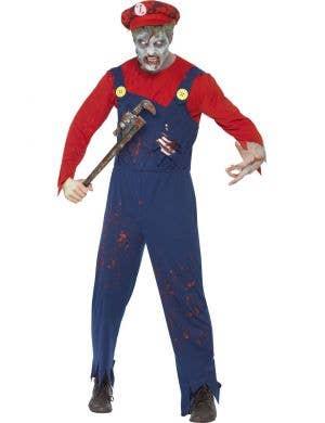 Men's Zombie Plumber Mario Halloween Costume Front