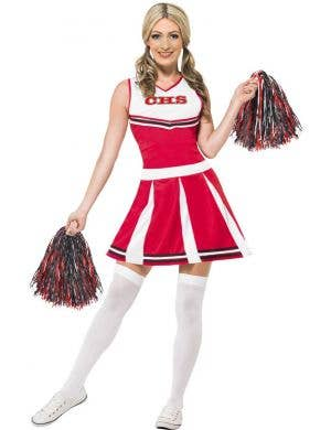 Women's Red Cheerleader Fancy Dress Costume Front View