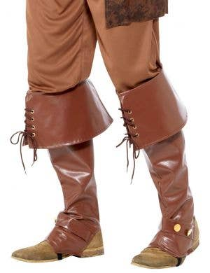Deluxe Brown Leather Look Pirate Boot Covers
