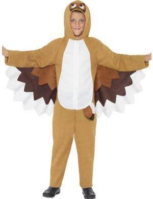 Kid's Brown Owl Bird Onesie Book Week Animal Costume Front