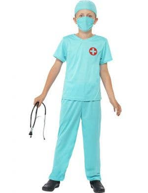 Boy's Medical Doctor Green Scrubs Fancy Dress Costume Front