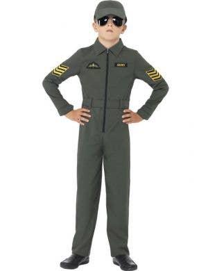 Boy's Green Jet Pilot Top Gun Aviator Costume Front