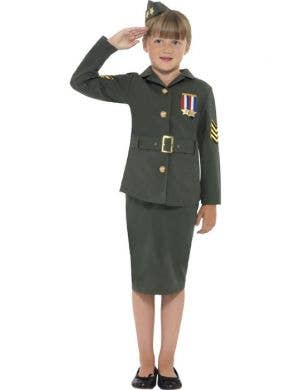 Girl's WWII Army Officer Costume Front View