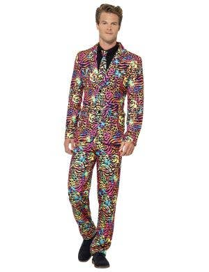 Colourful Neon Animal Print Men's Stand Out Suit Costume Image 1