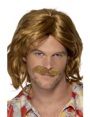 1970's Super Trouper Men's Brown Wig and Moustache