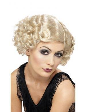 Flirty Flapper Women's Blonde Short Curly Costume Wig