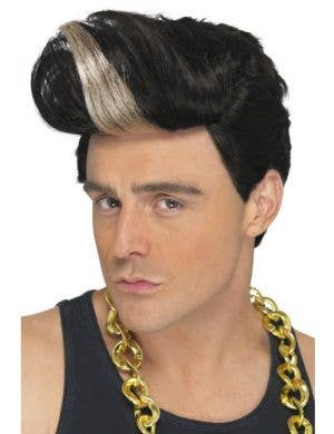 Men's 90's Rap Star Black And Blonde Costume Wig
