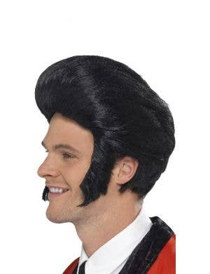 Pompadour King Men's 1950's Elvis Presley Black Quiff Costume Wig