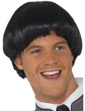 Swinging 60's Men's Black Bowl Cut Costume Wig