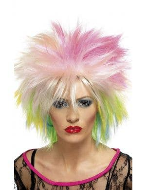 Punk Attitude 1980's Multi Coloured Short Spiky Costume Wig