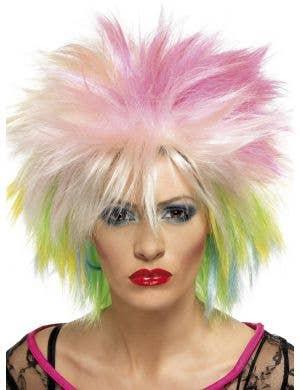 Punk Attitude 1980's Multi Colour Short Spiky Costume Wig