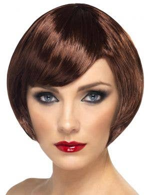 Beautiful Babe Women's Short Auburn Brown Bob Costume Wig With Side Fringe