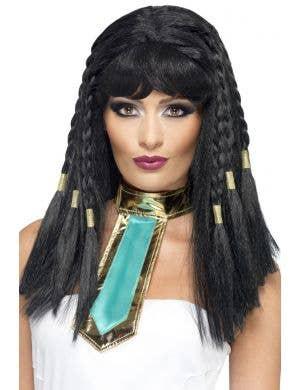 Goddess Cleopatra Women's Long Black Costume Wig Main Image