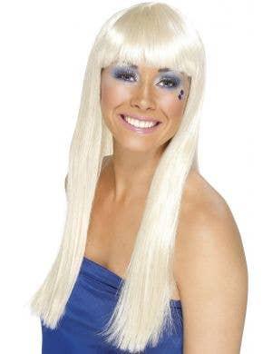 Women's Long Blonde Dancing Queen Costume Wig