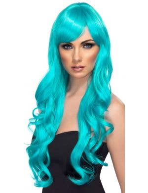 Desire Long Wavy Blue Women's Costume Wig With Side Swept Fringe