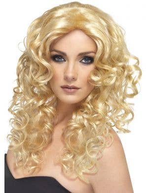 Glamour Long Blonde Tightly Curled Women's Costume Wig