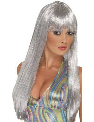 Long Silver Glitter Tinsel Women's Disco Costume Wig