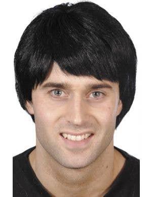 Short Men's Black Costume Wig