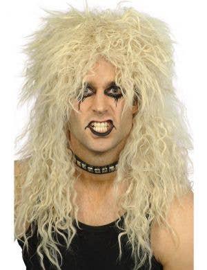 Hard Rocker Men's 80's Blonde Crimped Costume Wig