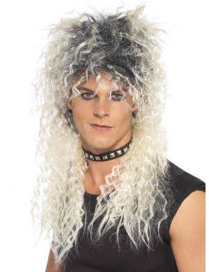 80's Rocker Men's Crimped Blonde Costume Wig with Roots