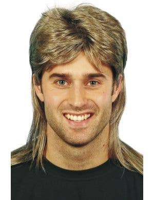 80's Brown with Blonde Highlights Mullet Men's Wig