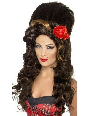 Rehab Babe Women's Brown Amy Winehouse Inspired Beehive Costume Wig