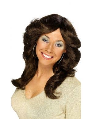 Foxy Women's 1970's Long Brown Flick Costume Wig