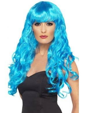 Siren Mermaid Curly Blue Costume Wig