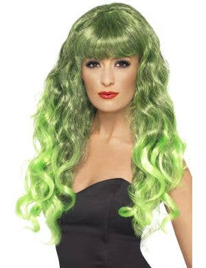 Women's Two Tone Green and Black Curly Costume Wig