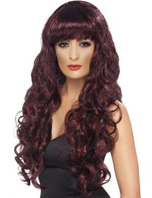 Glamour Siren Women's Long Auburn Curly Costume Wig