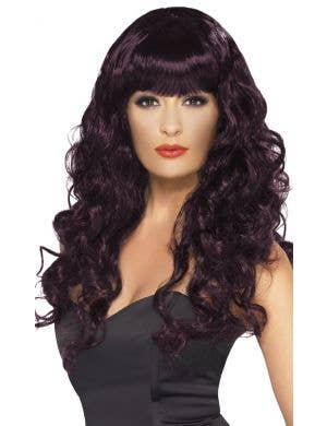Glamour Siren Women's Long Burgundy Curly Wig