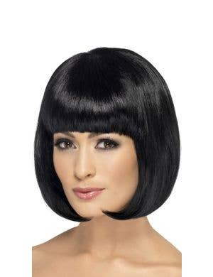 Partyrama Womens Short Black Bob Costume Wig With Fringe