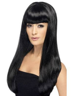 Babelicious Long Black Women's Wig with Fringe
