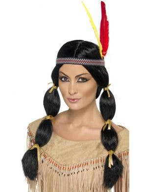Indian Girl Women's Costume Wig With Feather Headband