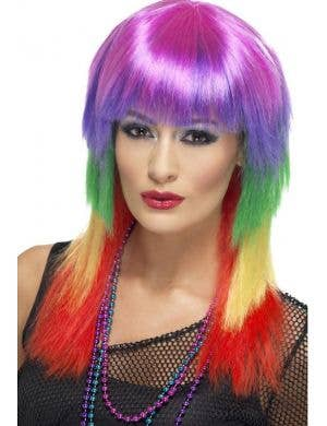Multicoloured Straight Rainbow Rocker Wig