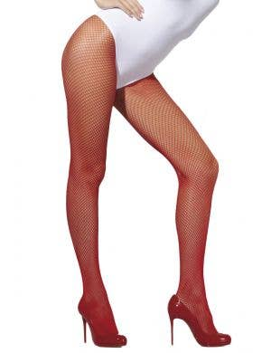 Women's Red Full Length Fishnet Stockings Main Image