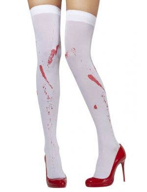 White Blood Splatter Women's Thigh High Stockings