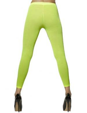 Opaque Fluro Green Footless Costume Tights Back View